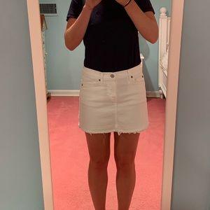 7 For All Mankind White Jean Skirt